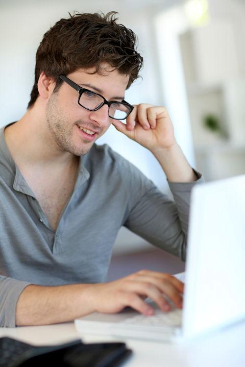 Young man on webinar