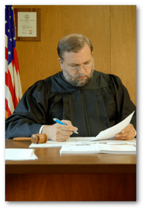 A judge looking at papers.