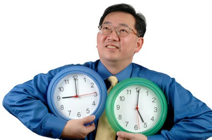 Asian with clocks